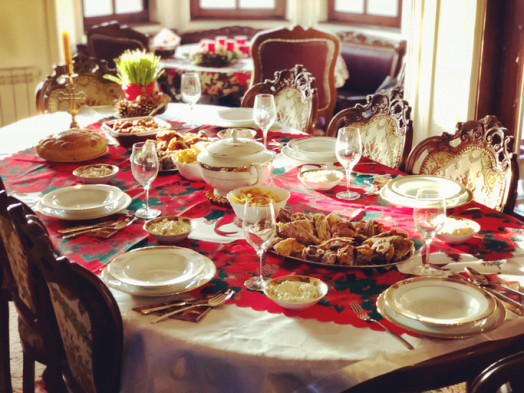 Traditional serbian christmas breakfast